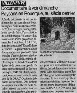 La presse parle de la projection du film Paysans en rouergue